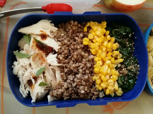 chicken breast+buckwheat+ corn+sauteed chard