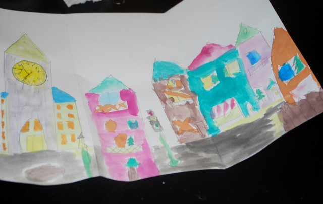 filling paper houses with color