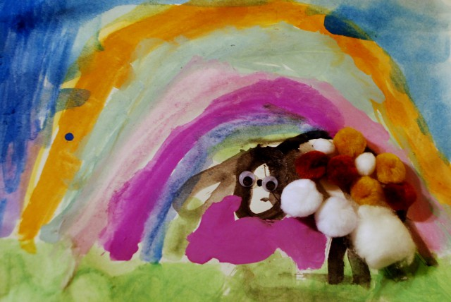 C. draws rainbows a lot nowadays, I love her sheep's ears too :)