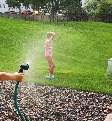 Kids were all about playing with water this week, no wonder, we had a couple of extremely hot days