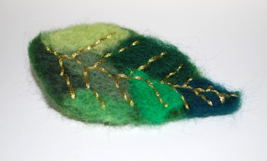 needle felted and embroidered hair pin