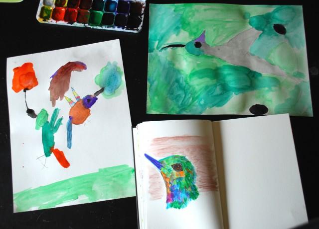 painting hummingbirds