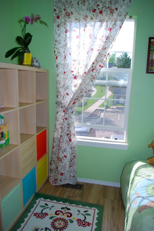 IKEA curtains, IKEA shelving unit