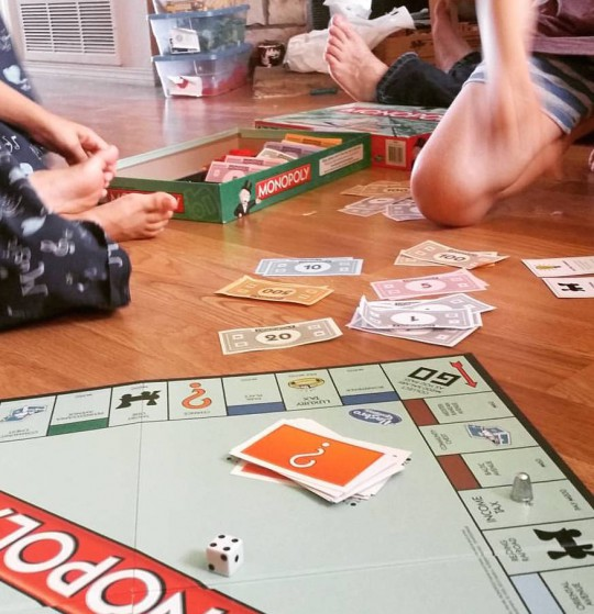 and oh! the monopoly obsession. 3 hour- long games, C. giggling and hogging all the cash, D. winning in the end...priceless