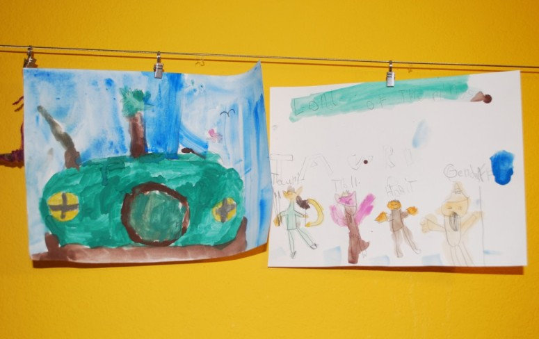 C.'s painting of a hobbit hole and her favorite characters from the movie